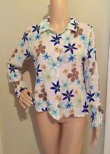 M multi-color RETRO FLORAL PRINT COLLAR SILK CAREER blouse by ISHYU