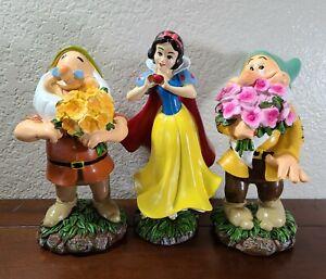 "Disney Snow White & Seven Dwarfs 8"" Garden Statue LOT - Snow White, Doc, Bashful"