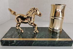 Horse Desk Pen Holder on Green Marble Base, Gold Plastic Horse & Holder (b493)