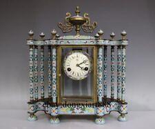 """19"""" Europe Retro Bronze Cloisonne Porcelain Index Dial Mechanical Table Clock"""