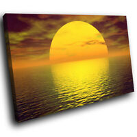 SC067 Yellow Ocean Sunset Nature Landscape Canvas Wall Art Large Picture Prints