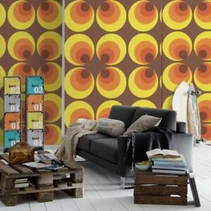 Yellow Brown and Orange Retro Deluxe Wallpaper - Large Groovy Circles 7013-12