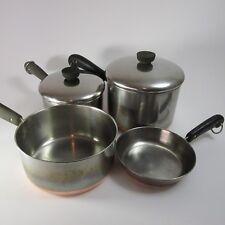 Revereware SET 3 Saucepans 1 Frying pan 2 covers LOT of 6 Vintage copper bottom