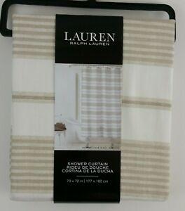 "Lauren Ralph Lauren Cream Tan Beige Striped Shower Curtain 70x72"""
