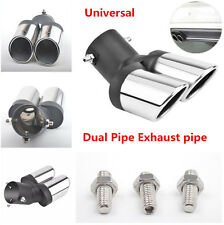 63mm Durable Stainless Steel Car Dual Pipe Exhaust Muffler Tail Throat Decor
