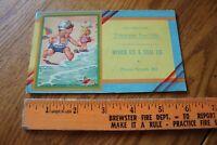 1920s Nyack Ice & Coal Co Tidewater fuel oils Advertising Card Vintage Cartoon