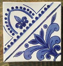 "10~Mexican Talavera Pottery 4"" tile HandPainted 4 make pattern blue white Dutch"