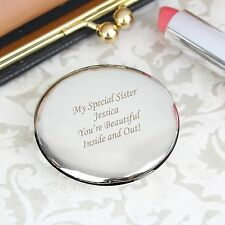 Personalised Engraved Silver Plated Round Compact Mirror - Birthdays for Her