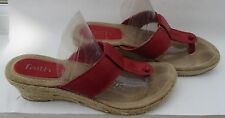 Faith size 7 (40) red leather toe post mule low wedges