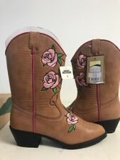 Smoky Mountain 1310  Embroidered Rosette PINK ROSES on LEATHER BOOTS - NEW w/Box