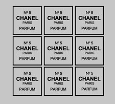9x Chanel No 5 Replica Vinyl Decal Stickers Box Frame Vases Book Craft size 2.5""