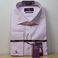 """M&S LUXURY Superior COTTON Tailored Fit SHIRT ~ Size 17.5"""" ~ PINK STRIPE"""