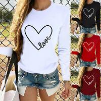 Women Valentine's Day Long Sleeve T Shirt ONeck Leopard Heart-shaped Print Tops