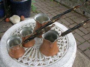 SALE Vintage Copper Tturkish COFFE POT SET of 4 Inlaid Handles Cezve Eastern