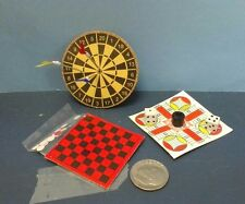 Dollhouse Miniature Games Darts, Parcheesi & Checkers from Handley House. 1:12 .