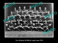 OLD 8x6 HISTORIC PHOTO OF THE NEW ZEALAND ALL BLACKS RUGBY UNION TEAM 1924 1