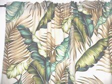 PAIR 82x52 Tropical Hawaiian 100% Cotton Barkcloth Fabric Drapes ~Banana Leaves~