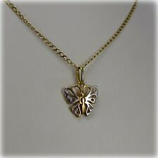 "9 carat 2-colour Gold Butterfly Pendant on 18"" flat Curb Link Chain"