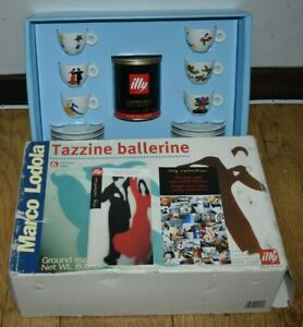 Illy Artist Cups 1999 Marco Lodola Tazzine Ballerina 6 Cafe Espresso Cups Boxed