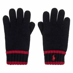 POLO Ralph Lauren Knit Gloves Navy and Red Embroidered Logo Size 8-20 NWT