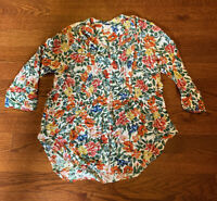 Intro Bright Floral 100% Rayon Long Sleeve Top Blouse Women's Size Medium
