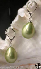 Beautiful Green Shell Pearl Drop Earrings