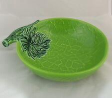 Vintage Green Bowl Leaf & Branch Cabbage Design Serving Bowl Candy Dish