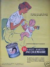 PUBLICITÉ 1958 FARINE JACQUEMAIRE DE BLÉDINE ALIMENTS INFANTILES ARTICHAUTS
