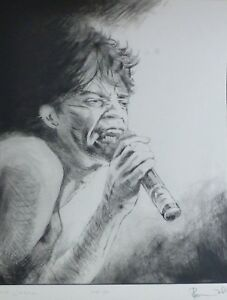 """RONNIE WOOD """"Mick Jagger"""" HAND SIGNED from ROLLING STONES Suite I 1988"""