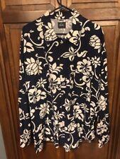 Quicksilver Men XL Floral Button Front Long Sleeve Cotton Blue White