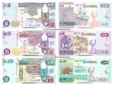 Zambia 2 + 5 + 10 Kwacha 2015 Set of 3 Banknotes 3 PCS UNC