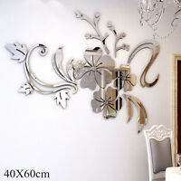 3D Mirror Flower Decal Wall Sticker DIY Removable Art Mural Home Room Decor ATA
