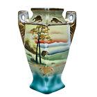 Vintage Japanese Porcelain Imari Landscape Motif Handle Vase by Miyako Japan