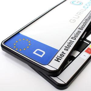 2x schwarz-silber Kennzeichenhalter mit Wunschbeschriftung, Text oder Logo