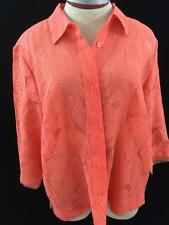 J H Collectibles 3/4 sleeve button top Orange Size L sheer leaf design texture
