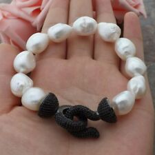 natural  White Baroque freshwater Pearl Bracelet-CZ pave clasp