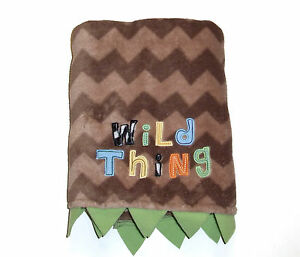 Tiddliwinks Wild Thing Baby Blanket Brown Green Tan Chevron Security Lovey