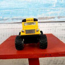"Kins Fun School Yellow Monster Wheels Bus 5"" Diecast Metal/ Stop Sign USA Seller"