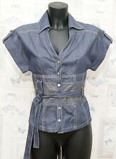 Karen Millen Denim Shirt Blouse Size 8 UK Belted Snap Buttons