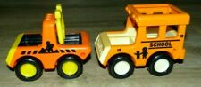 Vintage 1987 TONKA Bandai Yellow Orange Black School Bus Construction Truck Toys