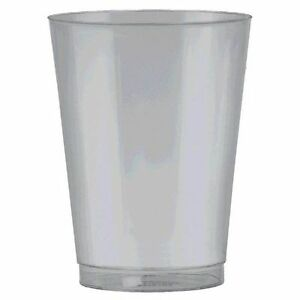 Pack of 72-Silver Big Party Pack Plastic Cups, 10 oz. Amscan