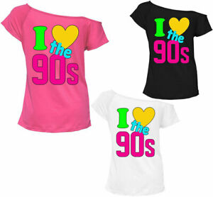 Women I Love The 90's T Shirt Retro Pop Star Ladies Hen Fancy Party Top Outfit