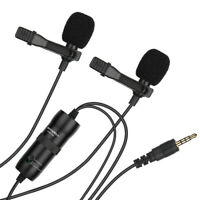 3.5mm Dual Lavalier Microphone for Camera iPhone Smartphone DSLR Video Interview