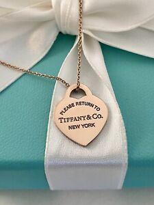 "Tiffany & Co Rubedo Metal Small Heart Tag Pendant Necklace 16"". RUBEDO Chain"