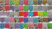 100 8mm Round Acrylic Beads - Choice of Colours & Finishes -