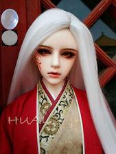 "7-8"" 1/4 BJD White Straight Long Wig LUTS Doll SD DZ DOD MSD Pullip Hair +Cap"