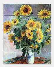 Monet Bouquet of Sunflowers Marble Mural Backsplash Kitchen 16x20 in