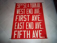 NYC BUS ROLL SIGN MANHATTAN COLLECTIBLE YORK WEST END FIRST EAST FIFTH AVENUE NY