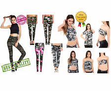 Women Ladies Camouflage Army Print Leggings Girls Top Camou Military Track Suit