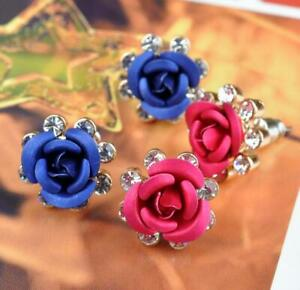 1 Pair Women Elegant Rose Crystal Rhinestone Flower Stud Charm Earrings Jewelry